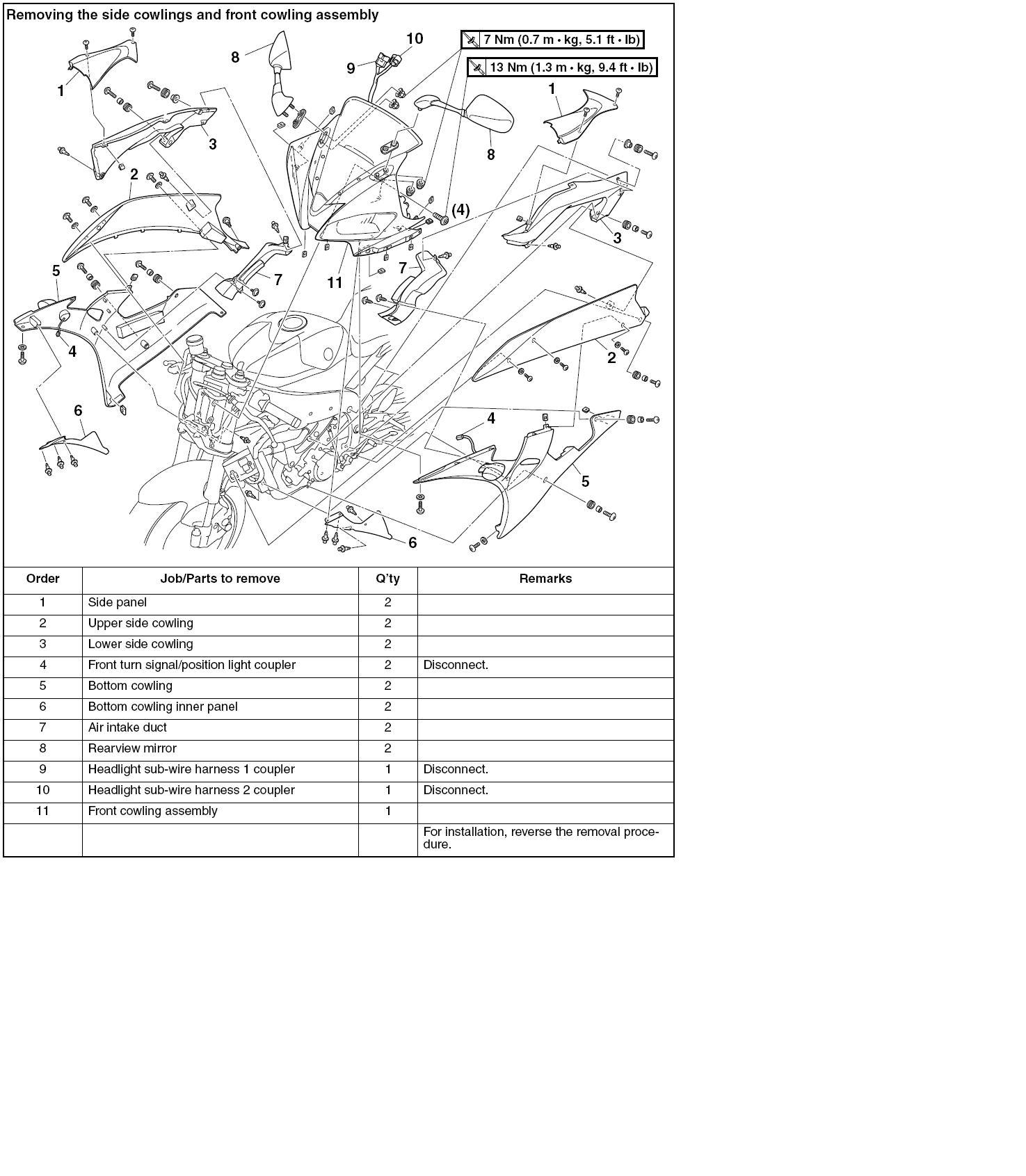 2005 yamaha r6 fairing diagram