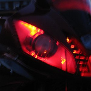 Hid Projectors w/ Gatling Headlights lit by red leds