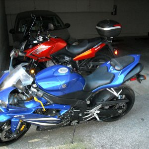 07 Yamaha YZF R1 and the 09 WeeStrom.