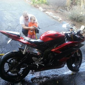 Me and my Boy washing the R6